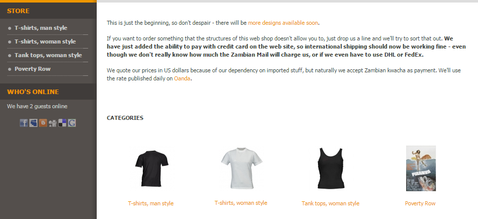 The ZAMSHIRT online store.